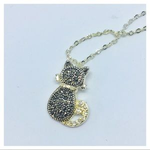 Kitty cat marcasite silver tone pendant necklace